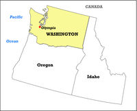Washington state map with its neighboring states