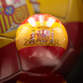 3d Soccer Ball with Spain Flag Illustration