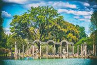 old fashioned film photographic shoot of Villa Adriana or Hadrians Villa in the Canopus area in Tivoli - Rome - Italy
