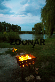evening-burning firewood in the grill, preparation for the frying of meat, near the lake