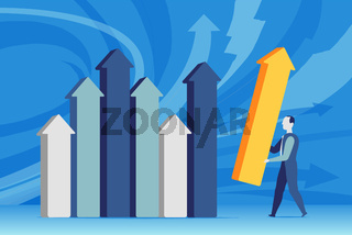 A business man sets the stats of sales