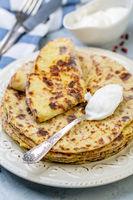 Potato pancakes lefse. Norwegian cuisine.