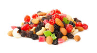 Dried fruits and nuts isolated