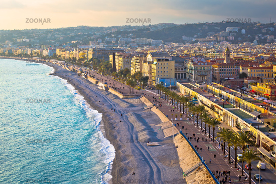 City of Nice Promenade des Anglais waterfront and beach view