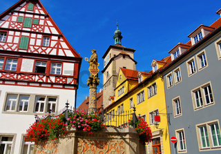 Rothenburg Seelhausbrunnen - Rothenburg in Germany, many timbered houses and Seelhouse well
