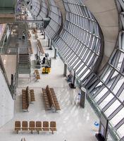 Interior of Bangkok International Airport. Suvarnabhumi Departure hall, Thailand.