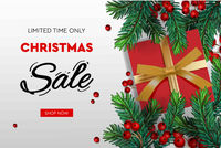 Christmas Sale banner. Realistic fir-tree branches with berries and red gift box. Vector illustration for winter holiday discounts.