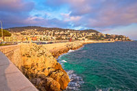 City of Nice waterfront and harbor sunset view