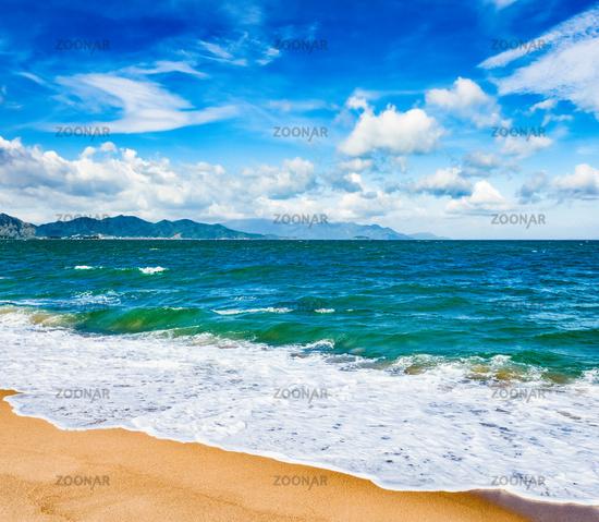 Scenic beautiful view of Nha Trang beach