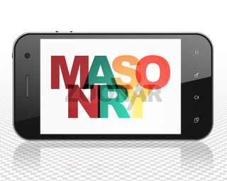 Constructing concept: Smartphone with Masonry on  display