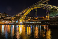Night city skyline of Porto in Portugal with the Ponte Luis I bridge