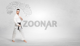 Karate trainer fighting with doodled symbols concept