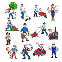 Agricultural Worker Mascot Cartoon Set