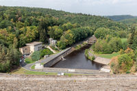 Gileppe dam in Belgium with power plant for hydroelectricity energy