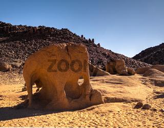 Abstract Rock formation at Tegharghart aka elephant in Tassili nAjjer national park, Algeria