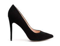 Side view of black suede high heel shoe
