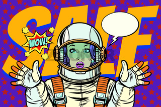 discounts sales woman wow astronaut retro background