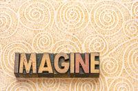 imagine word in wood type