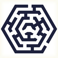 Hexagonal maze icon in flat and geometric style.