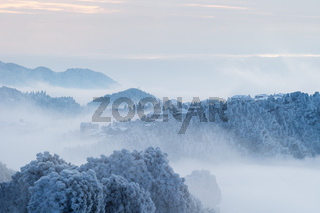 winter scenery in lushan mountain