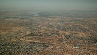 Aerial view to NDjamena and Chari or Chari river, Chad