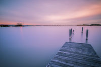 Colorful sunset on the lake neusiedlersee in Burgenland Austria