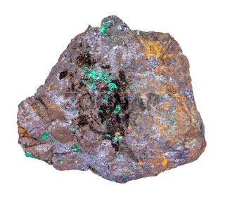 Cuprite and Malachite in Limonite stone isolated