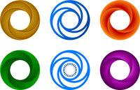 Six circular set icon. Geometric, simple and flat.
