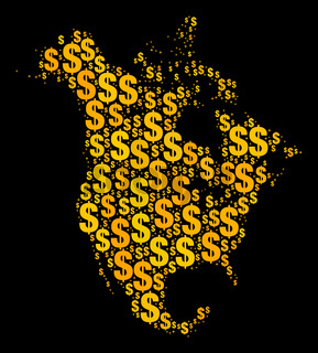 Golden Mosaic Map of North America of Dollar Signs