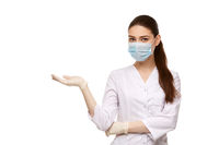 woman doctor in mask isolated on white