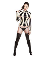 Woman in latex costume and high heels