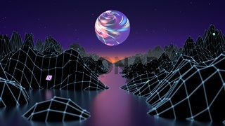 Hipster game from 80's cyber futuristic illustration. Digital oldschool game landscape wave image with moon and space mountains. Laser grid on terrain surface moving in a cyber world. 3d render illustration.
