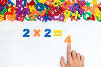 Man's hand doing simple multiplication