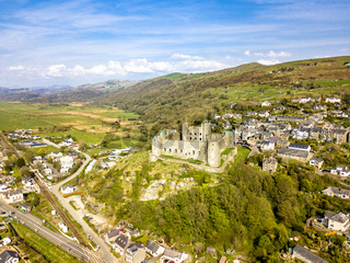 Aerial view of the skyline of Harlech with it's 12th century castle, Wales, United Kingdom