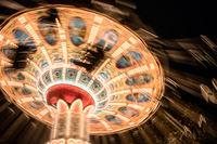 Retro carousel in the amusement park.
