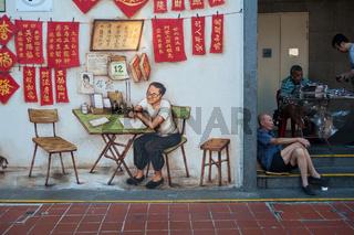 Singapur, Republik Singapur, Wandbild in Chinatown