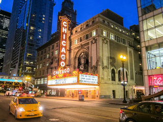 Theater of Chicago, Chicago is the city of skyscrapers. Chicago streets, buildings and attractions of the city of Chicago.