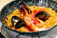 Paella with mariscos, a typical dish of traditional Spanish cuisine based on seafood and rice