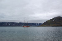 Sailship at Svalbard Coast