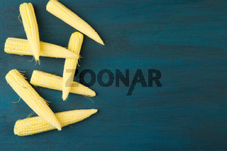 CORN ON A WOODEN BOARD. YOUNG YELLOW EARS OF CORN LYING ON DARK BLUE WOODEN BACKGROUND. ORGANIC CEREAL.