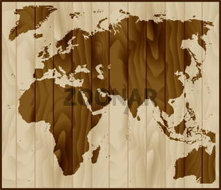 Europe, Asia and Africa map on wood background