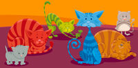 cats or kittens cartoon animal characters group