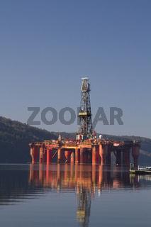 Oil rig in Lyngdalsfjord in Norway