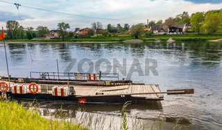 Kelheim, Bavaria, Germany on 21.05.2017 Cable ferry across the Danube at Weltenburg Lower Bavaria