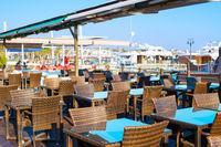 Empty restaurant Paphos port Cyprus