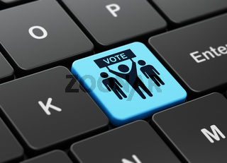 Politics concept: Election Campaign on computer keyboard background