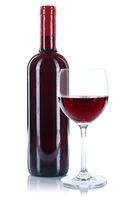 Wein Flasche Glas Weinflasche Weinglas Rotwein freigestellt Freisteller