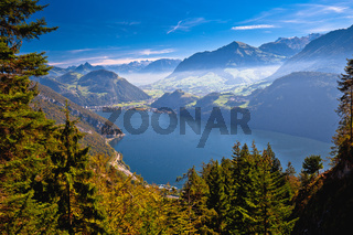 Lake Luzern and Alps mountain peaks aerial view from Mount Pilatus