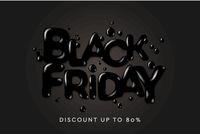 Black Friday Sale. Banner, poster, logo on black background. Discount up to 80 offer, vector illustration.