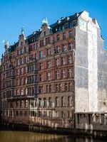 Hamburg, Germany - July 03, 2018: View from Grosser Burstah at historic Globushof Building